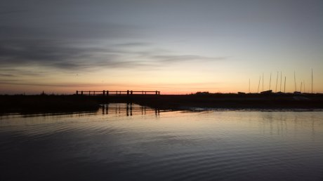 Pre-sunrise in Blakeney Harbour, looking east from the Cut towards Cley