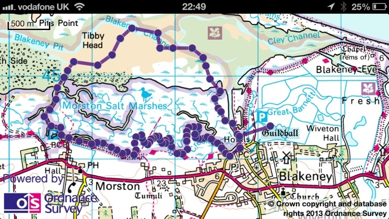 The route through the creek from Blakeney to Morston