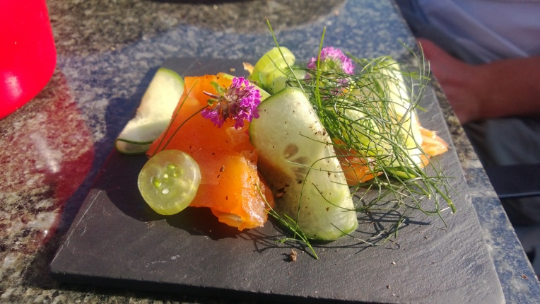 Smoked salmon tapas at Titchwell Manor