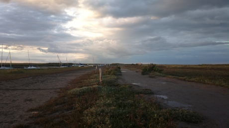 Looking down the causeway beside Blakeney Cut
