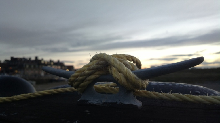 Cleat and rope overlooking Blakeney Quay