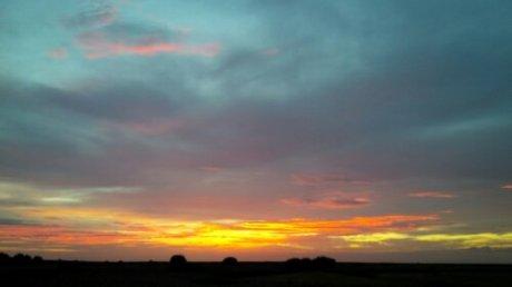 Evening sky glow over Cley Marsh