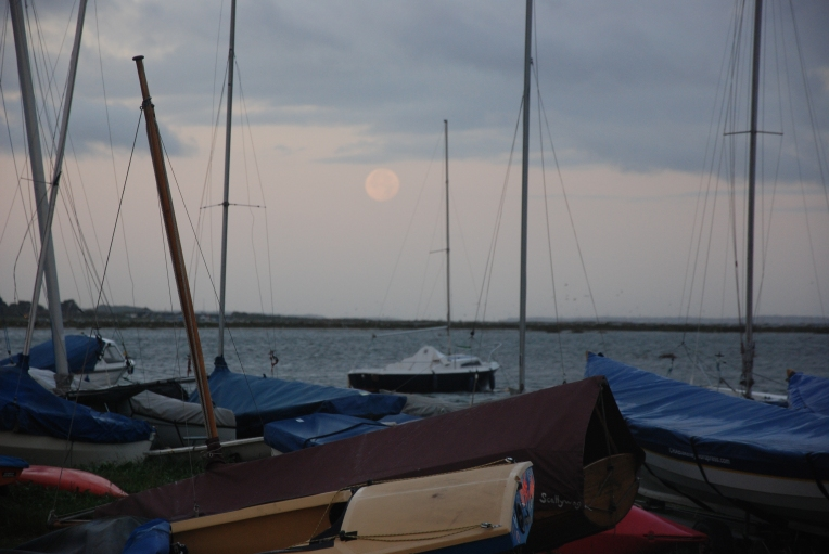 Full moon over Blakeney Harbour on a big spring tide