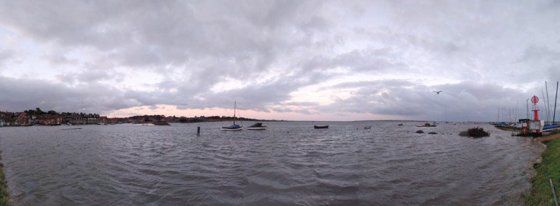 Panorama of Blakeney Quay flooding on a spring tide